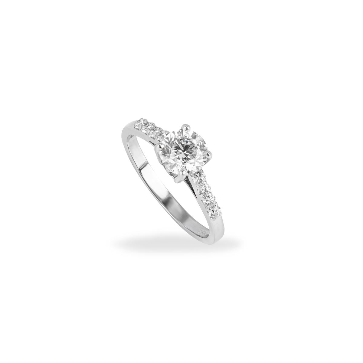 18k White Gold Round Brilliant Cut Diamond Ring 0.94ct I/VS1